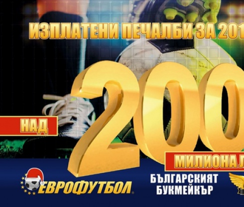 Еврофутбол раздаде над 200 милиона лева за 2015-а