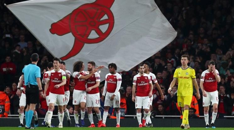 Арсенал на 1/8-финал в Лига Европа след класика над БАТЕ