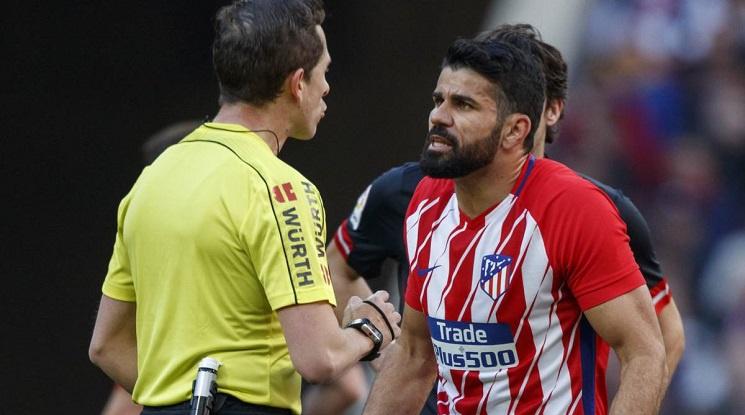 Диего Коста изгоря за 8 мача за обиди към рефера